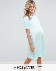 Платье-трапеция со складками на рукавах ASOS Maternity - Зеленый