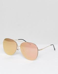 Солнцезащитные очки-авиаторы с розовыми стеклами Jeepers Peepers - Золотой