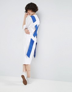 Платье-футболка миди с эластичной вставкой на спине ASOS WHITE - Белый