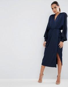 Платье миди с длинными рукавами и подплечниками ASOS - Темно-синий