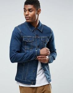 Синяя выбеленная джинсовая куртка суперузкого кроя ASOS - Синий
