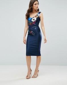 Платье-футляр с цветочным принтом Little Mistress - Темно-синий