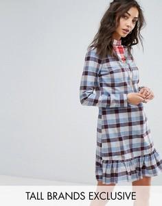Платье мини с оборками и принтом тартан Glamorous Tall - Мульти