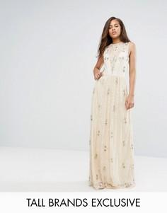 Кружевное платье макси с отделкой Maya Tall - Розовый