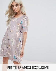 Бархатное платье мини с цветочным принтом Glamorous Petite - Мульти