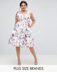 Платье миди с принтом роз и V-образным вырезом Chi Chi London Plus - Мульти