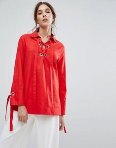 Свободная рубашка с лентами-завязками на манжетах и металлическими люверсами Neon Rose - Красный