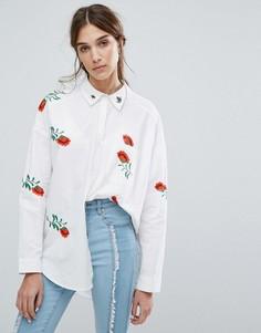 Oversize-рубашка с цветочной вышивкой Neon Rose - Белый