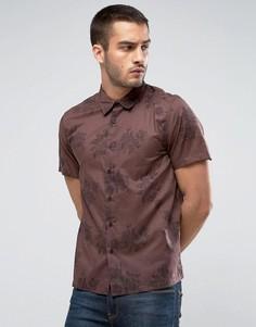 Коричневая рубашка классического кроя с цветочным принтом New Look - Коричневый