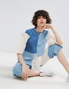 Джинсовый топ со вставками и вышивкой ASOS WHITE - Синий