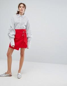 Юбка мини с запахом и завязками Neon Rose - Красный