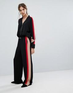 Строгие спортивные брюки с широкими штанинами и боковыми полосками Neon Rose - Черный