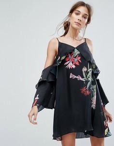 Платье на тонких бретельках с открытыми плечами и цветочным принтом Neon Rose - Черный