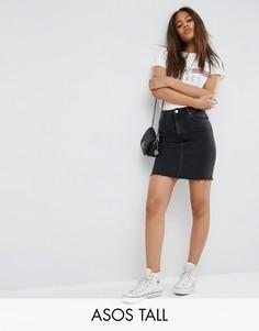 Черная джинсовая юбка с завышенной талией ASOS TALL - Черный