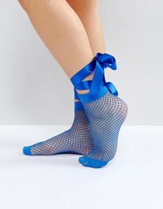 Сетчатые носки с завязкой на бант ASOS - Синий