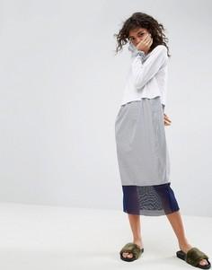 Платье-футболка миди со вставкой ASOS WHITE - Мульти