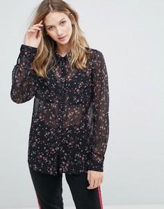 Полупрозрачная рубашка с цветочным принтом Gestuz Stacie - Темно-синий
