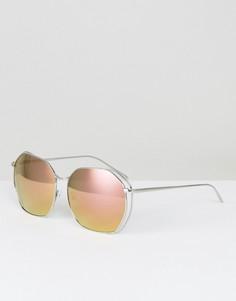 Большие солнцезащитные очки в стиле ретро Quay Australia Bae - Серебряный