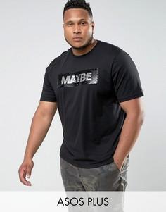 Свободная футболка с пайетками ASOS PLUS - Черный