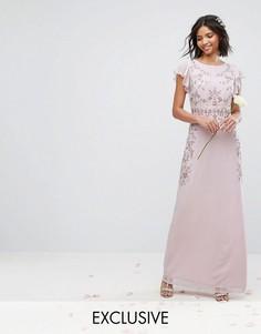 Декорированное платье макси с оборками на рукавах Maya - Фиолетовый