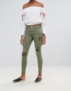 Рваные джинсы скинни Urban Bliss Jenna - Зеленый