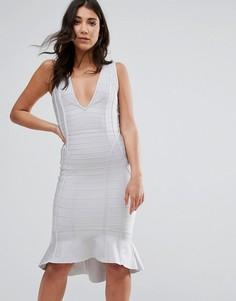 Серое бандажное платье миди с глубоким вырезом и оборкой по краю Missguided - Серый