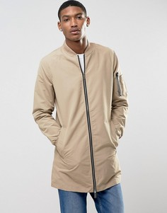 Длинная куртка на молнии Brave Soul - Светло-серый