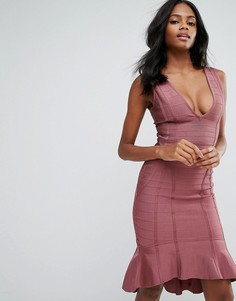 Фиолетовое бандажное платье миди с глубоким вырезом и оборкой по краю Missguided - Розовый
