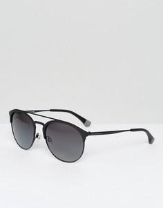 Круглые солнцезащитные очки Emporio Armani - Черный