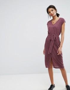 Платье с V-образным вырезом Selected - Фиолетовый