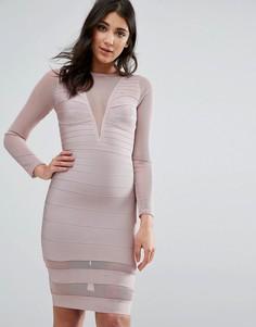 Фиолетовое платье мини с длинными рукавами Missguided - Розовый