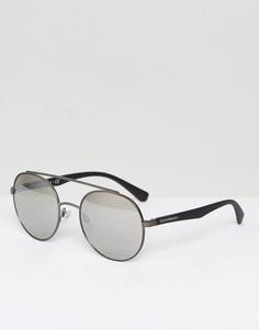 Круглые солнцезащитные очки Emporio Armani - Серебряный