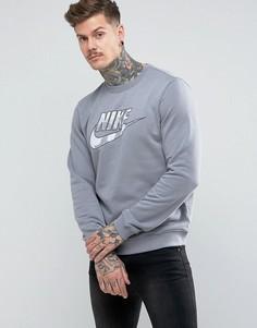 Серый свитшот с камуфляжным логотипом Nike AA1198-065 - Серый