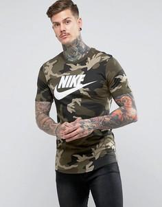 Зеленая футболка с камуфляжным принтом Nike AA1196-355 - Зеленый