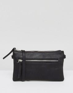 Минималистская сумка через плечо на молнии Pieces - Черный