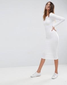 Облегающее платье миди с вырезами на плечах ASOS - Белый