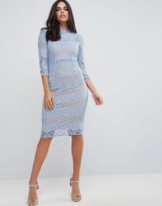Кружевное платье-футляр миди с высоким воротом Forever Unique - Синий
