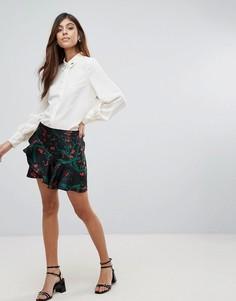 Мини-юбка с оборками и цветочным принтом Vero Moda - Черный