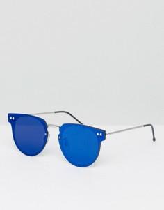 Круглые солнцезащитные очки с синими зеркальными стеклами Spitfire Cyber - Синий