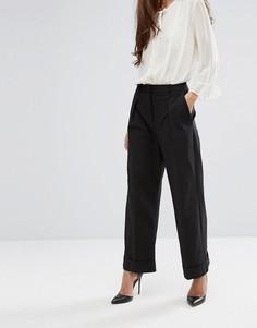Широкие брюки с манжетами Closet - Черный