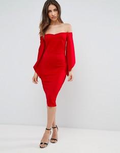 Платье миди с расклешенными рукавами Club L - Красный