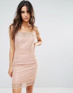 Кружевное платье миди AX Paris - Розовый
