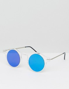 Круглые солнцезащитные очки с синими стеклами Spitfire Nexus - Серебряный