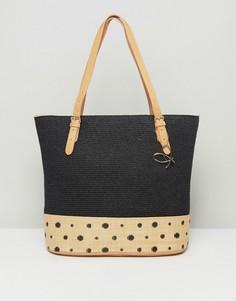 Большая сумка-тоут с отделкой в спортивном стиле Pia Rossini Summer - Черный