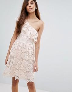 Кружевное платье на одно плечо Vero Moda - Розовый
