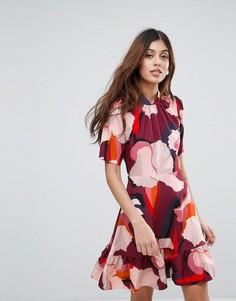 Платье с оборками и принтом Closet - Мульти