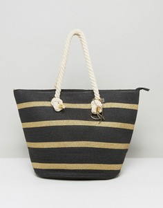 Соломенная сумка с веревочными ручками Pia Rossini - Черный