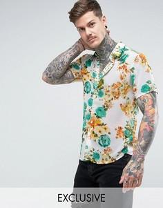 Рубашка стандартного кроя с цветочным принтом Reclaimed Vintage Inspired - Белый
