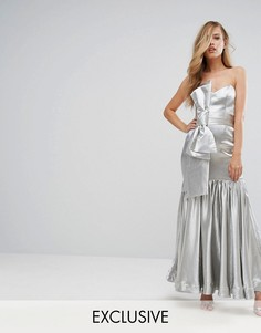 Приталенное платье макси с бантом Fame and Partners - Серебряный