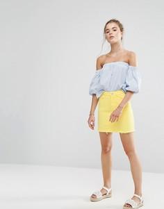 Джинсовая мини-юбка с необработанным краем New Look - Желтый